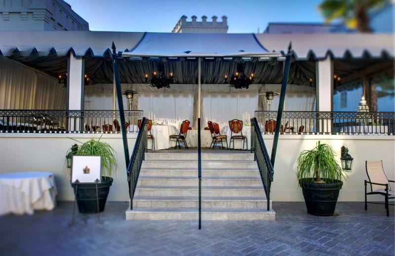 Outdoor dining at Casa Monica Hotel.