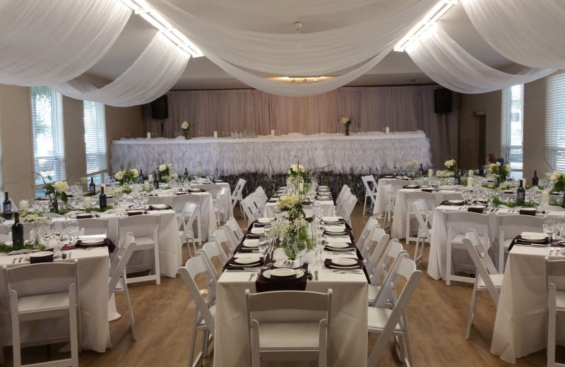elaborate table setting in the banquet hall