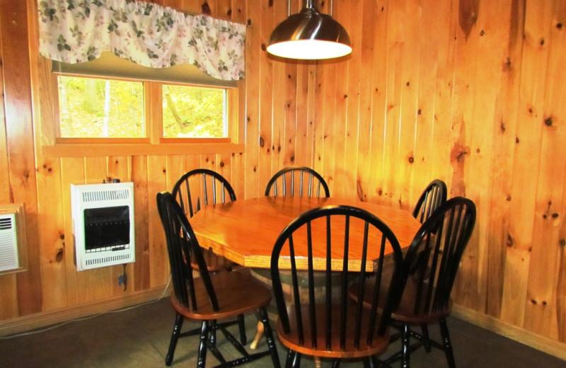 Cabin dining table at Contessa Resort.
