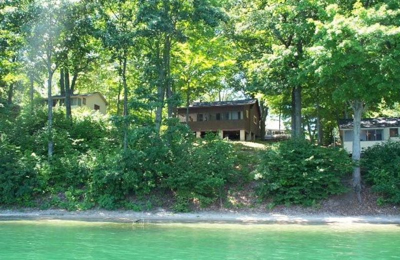 View of cabins from the water
