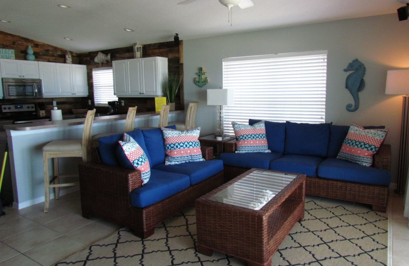 Rental kitchen living room at Long Key Vacation Rentals.