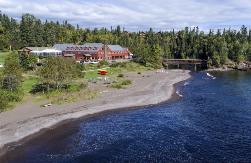 Aerial view of Lutsen Resort on Lake Superior.