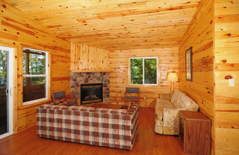 Cabin living room at Whitefish Bay Camp.