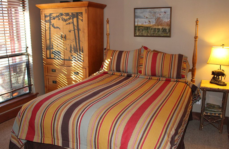 Guest room at Waterfront Luxury Lake Lodge.