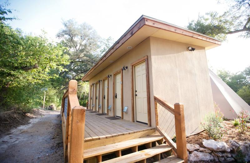 Tipis bathroom at Geronimo Creek Retreat.