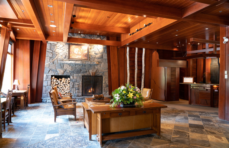 Lobby at The Fox Hotel & Suites in Banff.