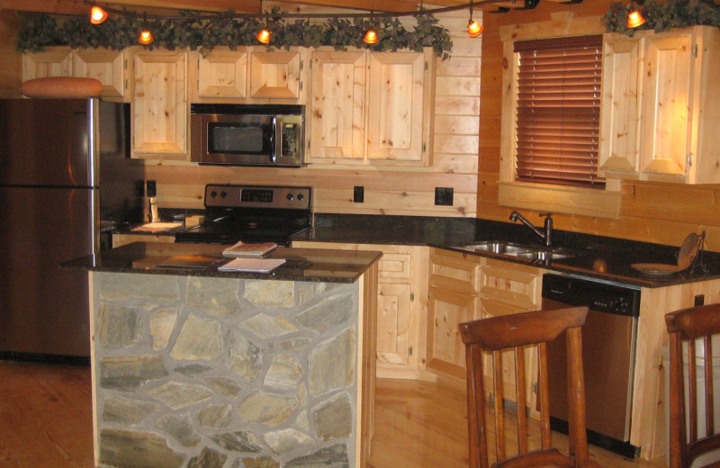 Cabin living room at White Oak Lodge & Resort.