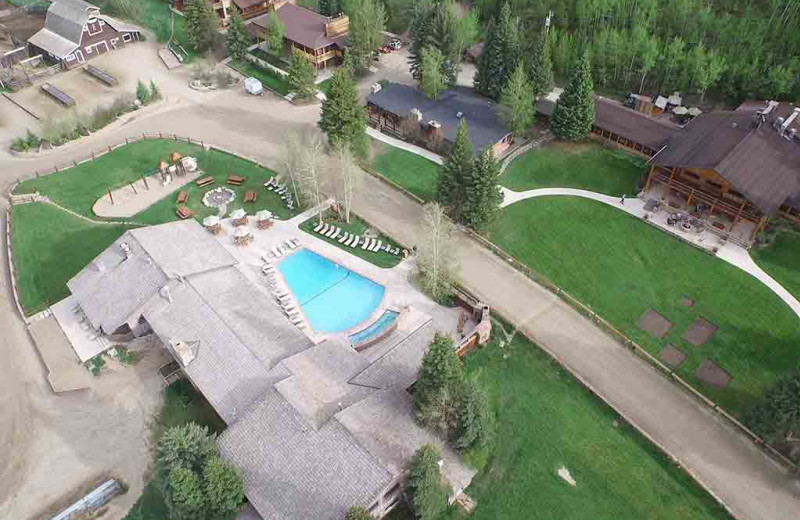 Aerial view of C Lazy U Ranch.