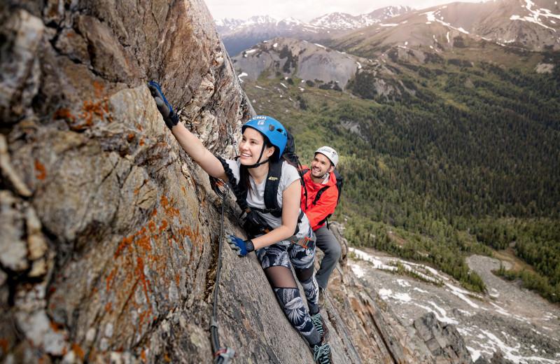Rock climbing at CMH Bugaboos Lodge.
