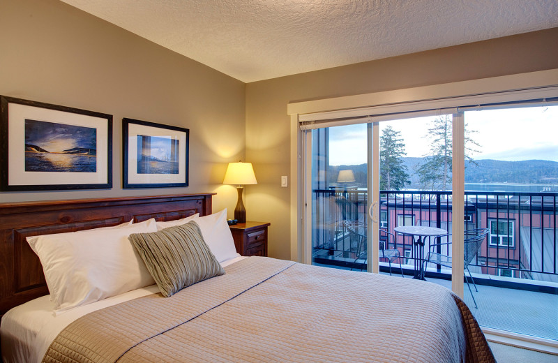 Guest bedroom at Sooke Harbour Resort & Marina.