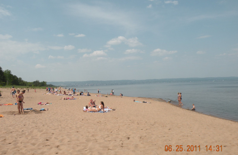The beach near Comfort Suites Canal Park.