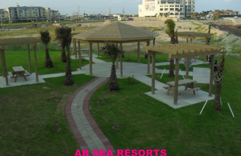 Resort patio at A B Sea Resorts.