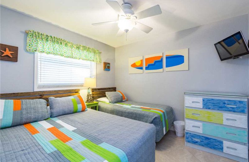Rental bedroom at SunHost Resorts.