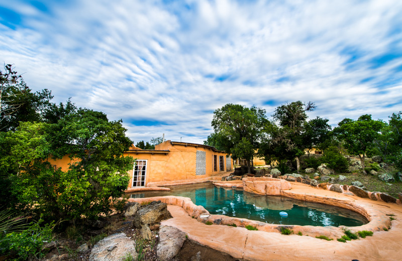 Outdoor pool at Trois Estate at Enchanted Rock.
