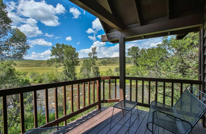 Cabin balcony at The Glen Eden Resort.