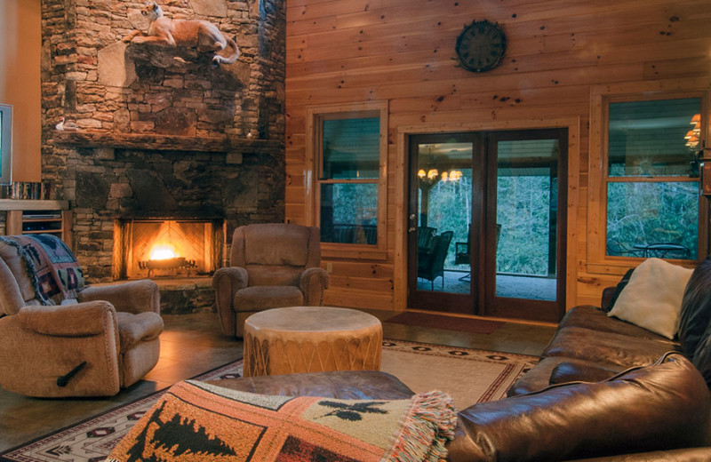 Cabin living room at Lands Creek Log Cabins.