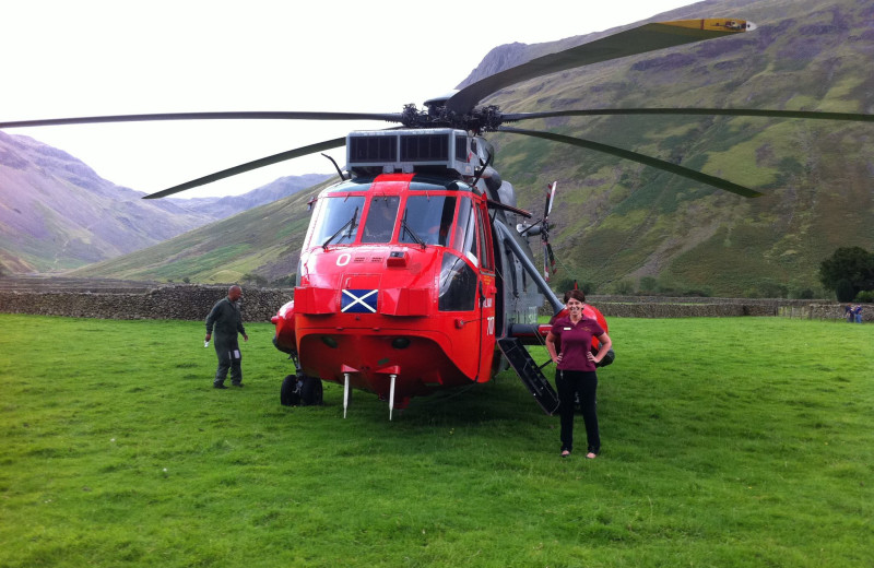 Helicopter at Wasdale Head Inn.