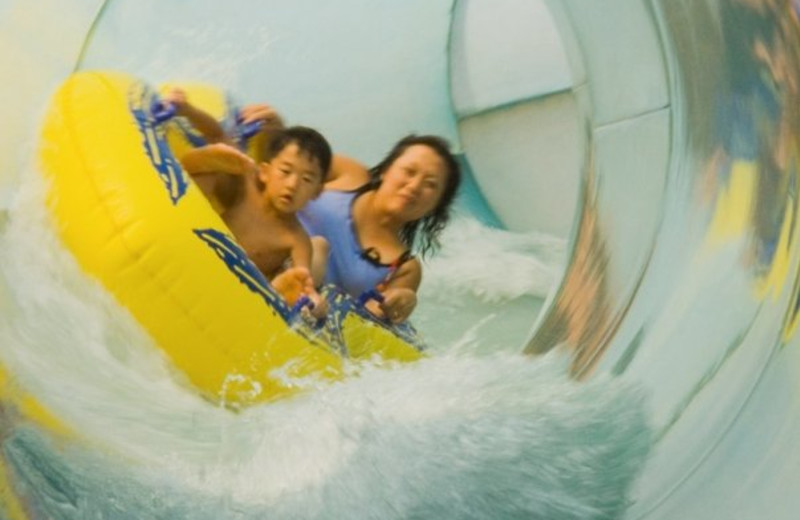 Going down the slide at Water Park of America.