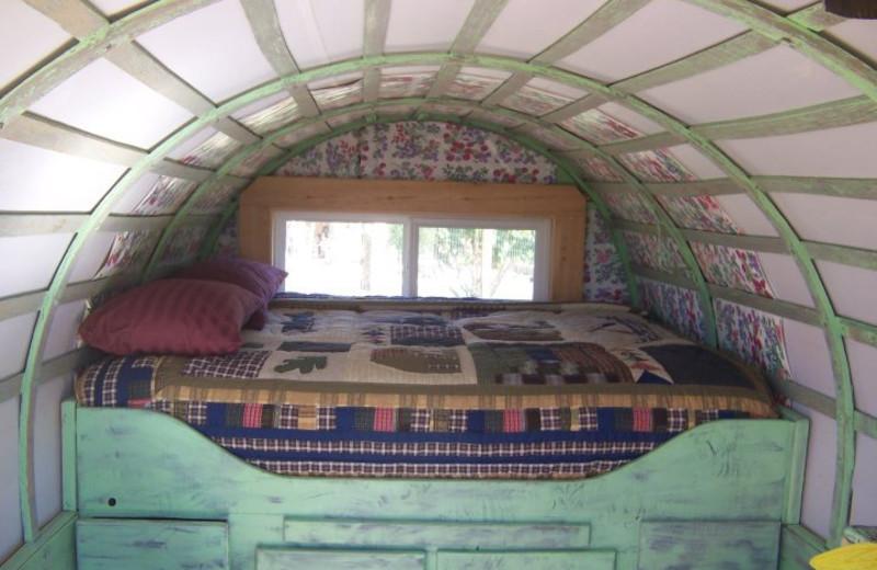 Wagon bed at K3 Guest Ranch.