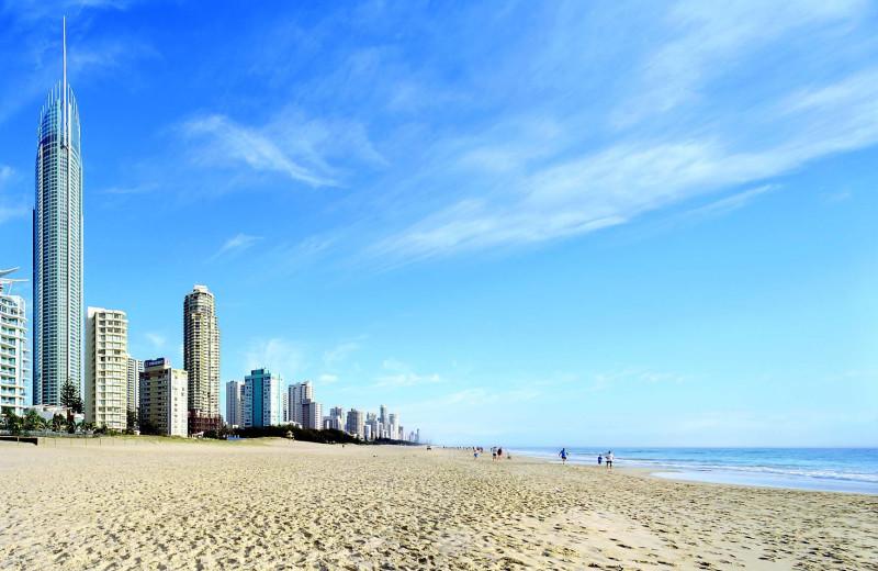 The beach at Q1 Resort Surfers Paradise.