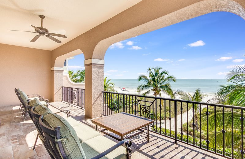Rental balcony at Sun Palace Vacation Rentals.