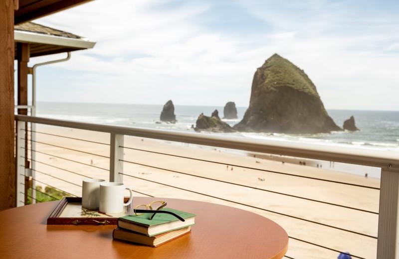 Balcony view at Hallmark Resort in Cannon Beach.