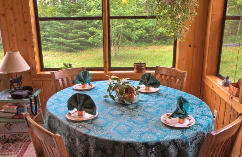 Dining table at Poplar Creek  B & B.