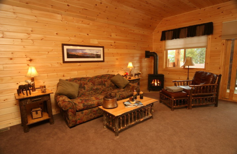 Living area at The Lodges at Cresthaven on Lake George.