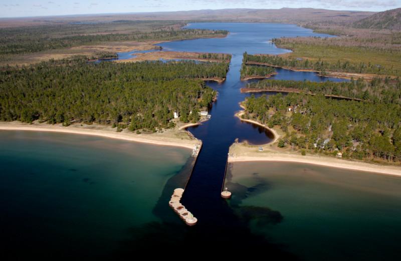 Aerial view of lakes at Aqua Log Cabin Resort.