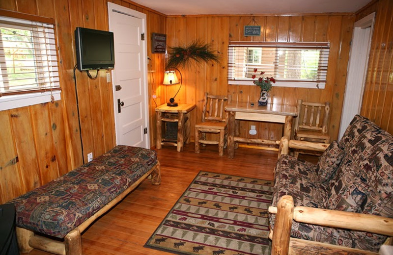 Cottage living room at Lazy R Cottages.