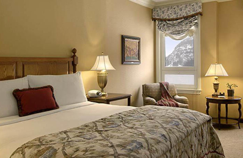 Guest bedroom at The Fairmont Chateau Lake Louise.