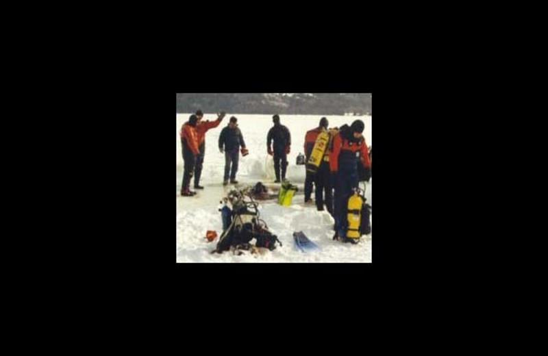Ice fishing at Northern Lake George Resort.