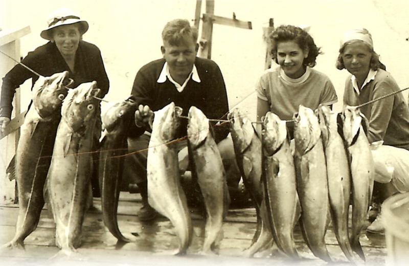 Historic fishing photo at Sebasco Harbor Resort.