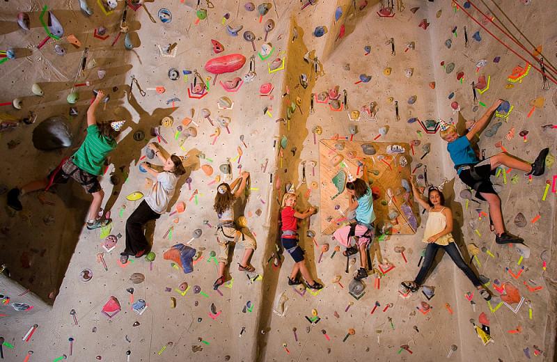 Rock climbing wall at Vail Mountain Lodge & Spa.