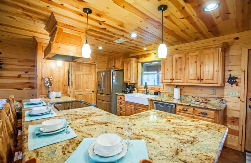Cabin kitchen at Blue Beaver Luxury Cabins.