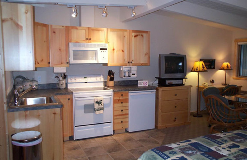 Guest room kitchen at Many Springs Flathead Lake Resort.