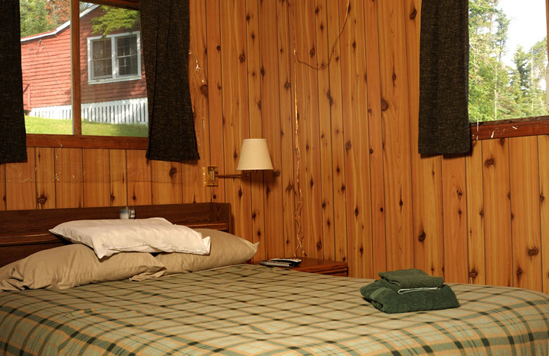 Cabin bedroom at Rough Rock Lodge.