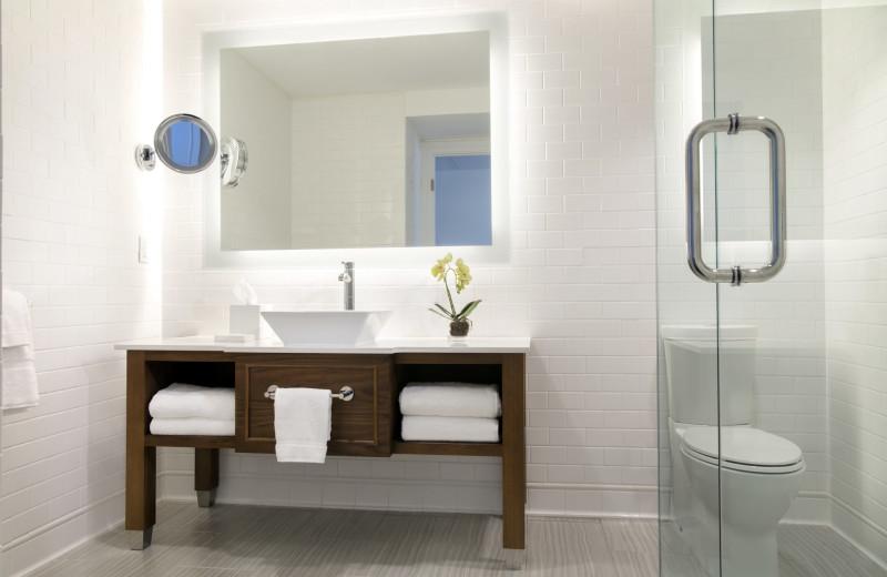 Guest bathroom at Oceans Edge Key West Hotel & Marina.