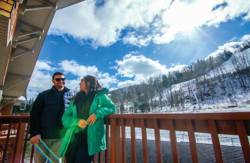 Guest balcony at Hunter Mountain Ski Resort.