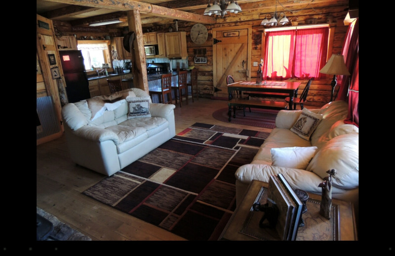 Cabin living room at Canyonlands Lodging.