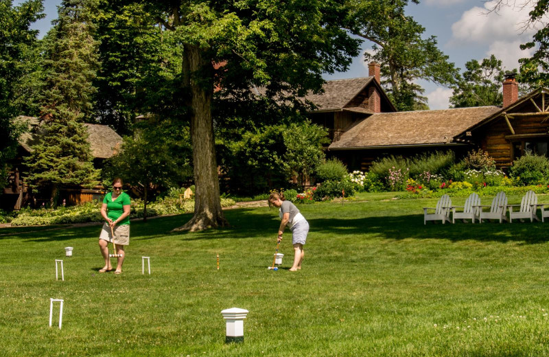 Playing croquet at Stout's Island Lodge.