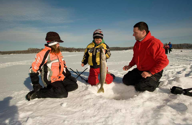 Ice fishing at Finger Lakes Premiere Properties.