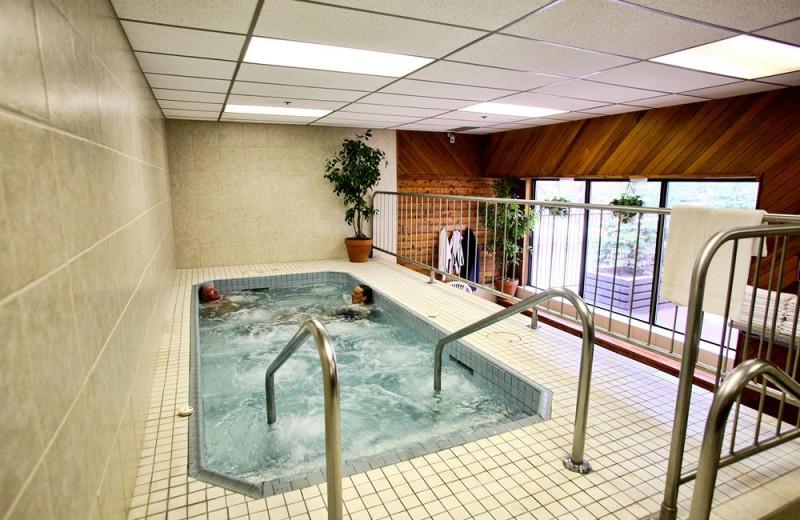 Indoor hot tub at Banff International Hotel.