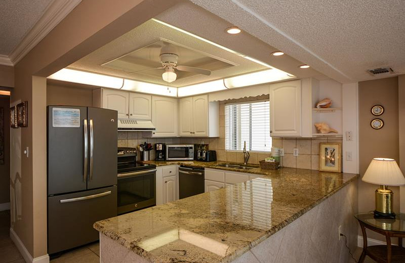 Rental kitchen at Shoreline Towers.