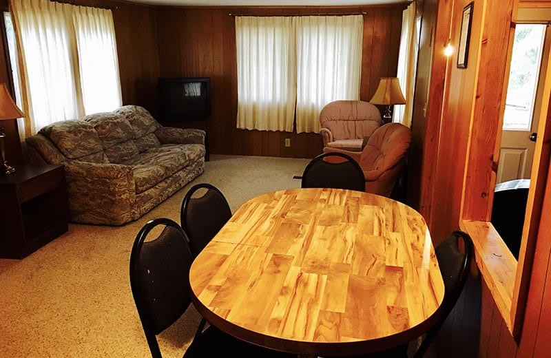 Cabin living room at River Bend's Resort & Walleye Inn.