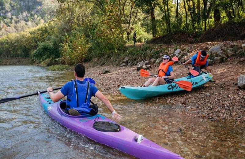 Kayaking at Buffalo River Lodge.