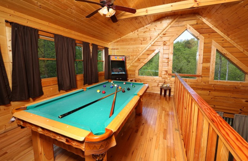 Cabin billiards table at Little Valley Mountain Resort.