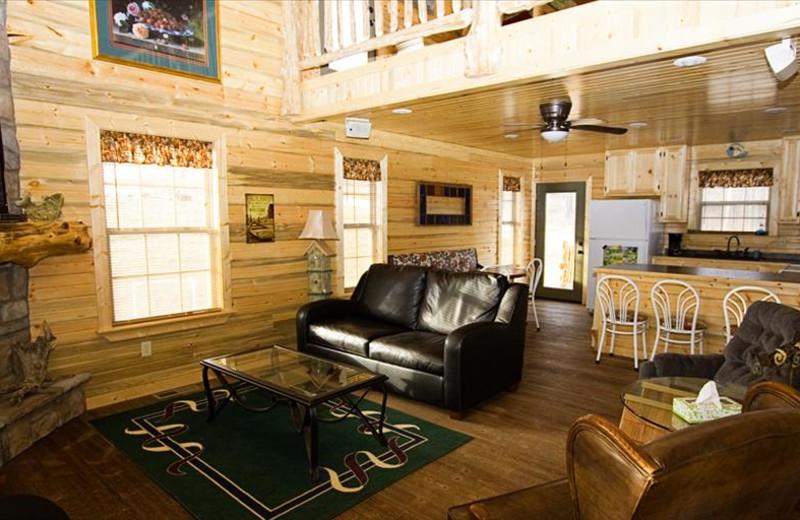 Cabin interior at The Cabins at Stockton Lake.