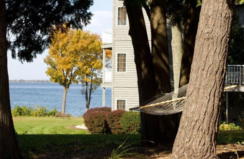 Inn view with lake at Bay Shore Inn.