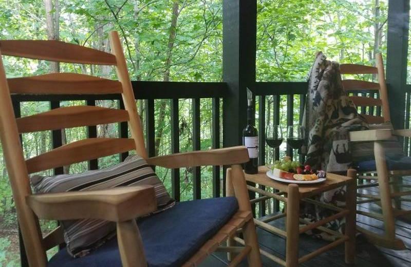Rental porch at Diamond Mountain Rentals.
